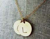 Gold Initial Necklace | Two Letter Charms Necklace | Hand Stamped Personalized | Custom Necklace DOT DUO by E. Ria Designs