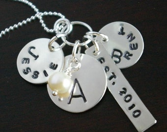Personalized Charm Necklace, ANNE Hand Stamped Sterling Silver Necklace Customized for You by E. Ria Designs
