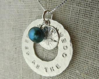 Personalized Necklace, Sterling Silver Custom Washer, Hand Stamped Ocean Style by E. Ria Designs