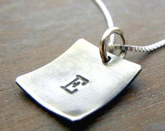 Initial Charm Necklace | Square Initial Charm | Rustic Vintage Jewelry | Oxidized Sterling Silver | Letter Necklace | Eriadesigns