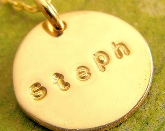 Personalized Gold Necklace, BESS Hand Stamped Half-Inch Gold Personalized Necklace by E. Ria Designs