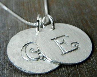 Double Silver Initial Necklace | Two Charm Sterling Silver | Personalized | Hand Stamped | Engraved | CALLIE DUO | E. Ria Designs