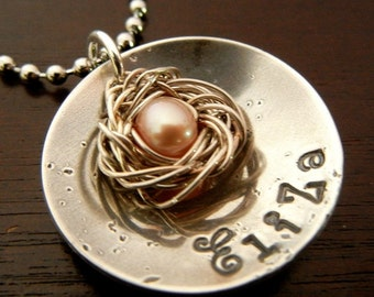 Custom Personalized Necklace - Hand Stamped Sterling Silver, Nest Name Jewelry - ANDIE SOLO - by E. Ria Designs