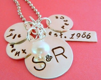 Family Charm Necklace, Personalized, Custom Hand Stamped Sterling Mothers Necklace, NELLIE by E. Ria Designs