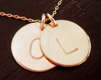 Gold Initial Necklace, Two Charms, Double Initial Pendants, 14K GF, Dot Duo, By E. Ria Designs