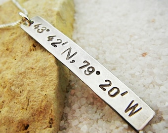 Longitude Latitude Necklace | Geocache Necklace | GPS Coordinate Necklace Location Necklace | Hand Stamped Custom Sterling Silver Necklace