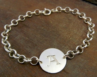 Chunky Initial Bracelet - Hand Stamped Sterling Silver Letter Jewelry BRIANNE Bracelet by E. Ria Designs