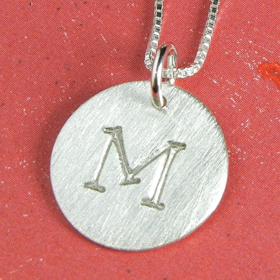 Initial Necklace | Custom Letter Charm | Engraved, Hand Stamped Initial Charm | .925 Sterling Silver