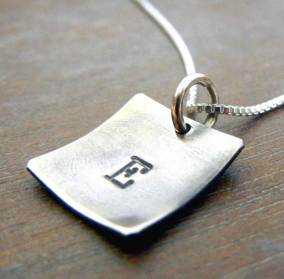 Silver Initial Necklace, DENA Hand Stamped Sterling Silver Square Charm Cupped Initial Necklace by E. Ria Designs