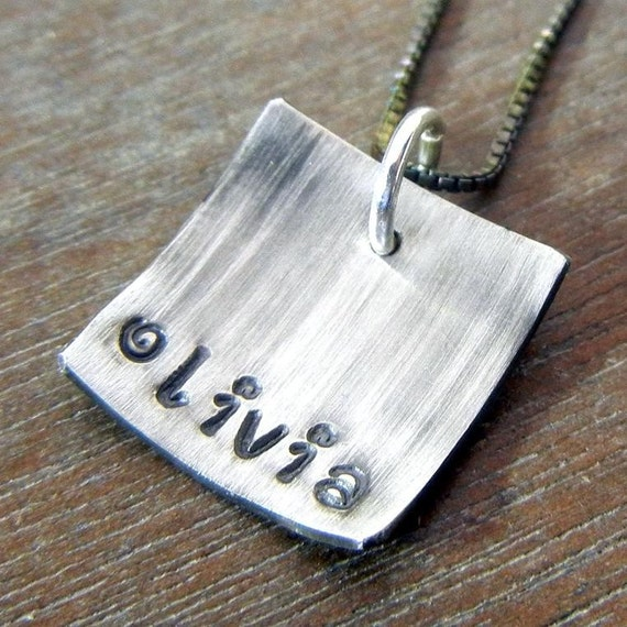 Personalized Name Necklace - MILLIE Hand Stamped Cupped Initial Name Oxidized Square Charm Necklace by E. Ria Designs