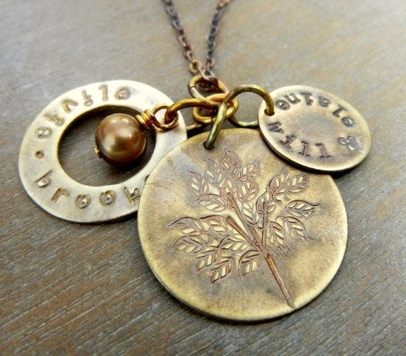 Custom listing for kimengleson  Personalized Family Tree Necklace - ASTER Hand Stamped Family Charm Necklace