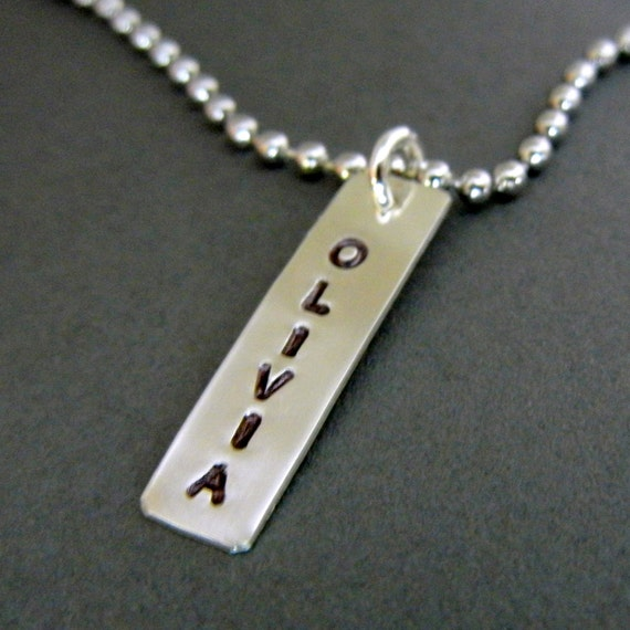Name Necklace - BROOKE Hand Stamped Sterling Silver Bar Necklace by E. Ria Designs