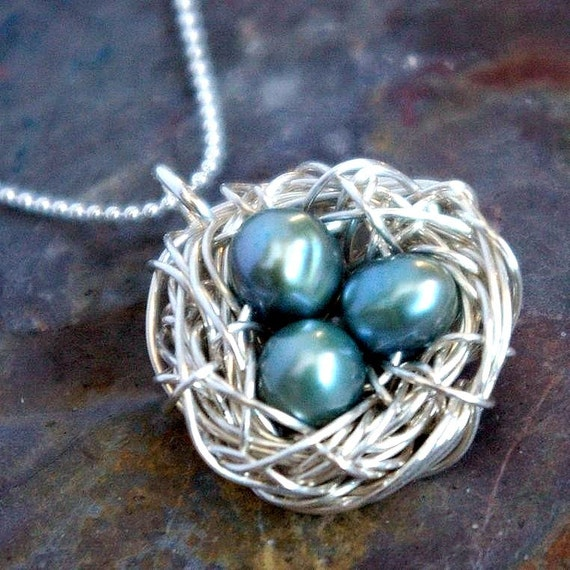 Nest Necklace - FEATHER YOUR NEST Momma Bird Sterling Silver Necklace with Genuine Pearl Eggs by E. Ria Designs