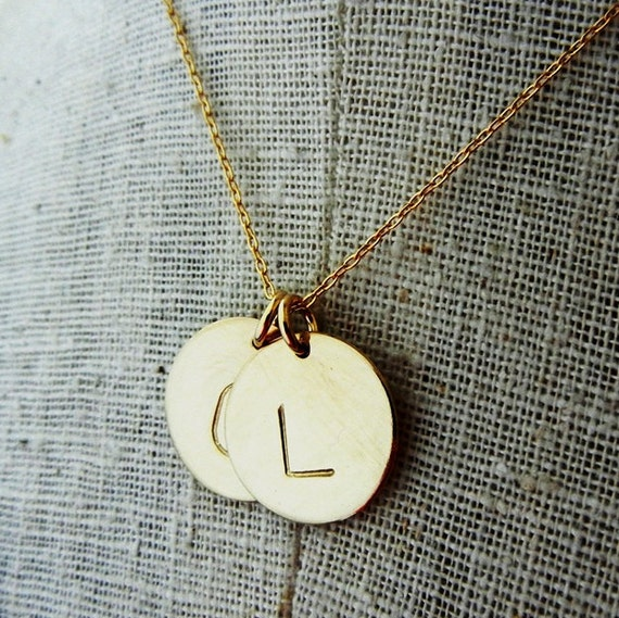 gold initial necklace two letter charms necklace hand stamped personalized custom necklace dot