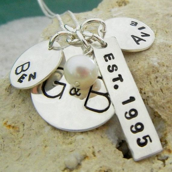 Family Charm Necklace | Mommy Necklace | Grandmothers Necklace | Personalized Charm Jewelry | Custom Hand Stamped Charms | E. Ria Designs
