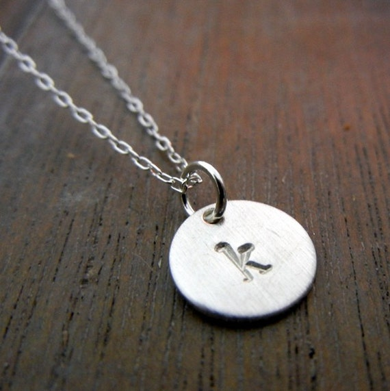 Little Letter Necklace, Tiny Letter Charm, Initial Necklace, Personalized, Custom Sterling Silver Jewelry JENNA E Ria Designs