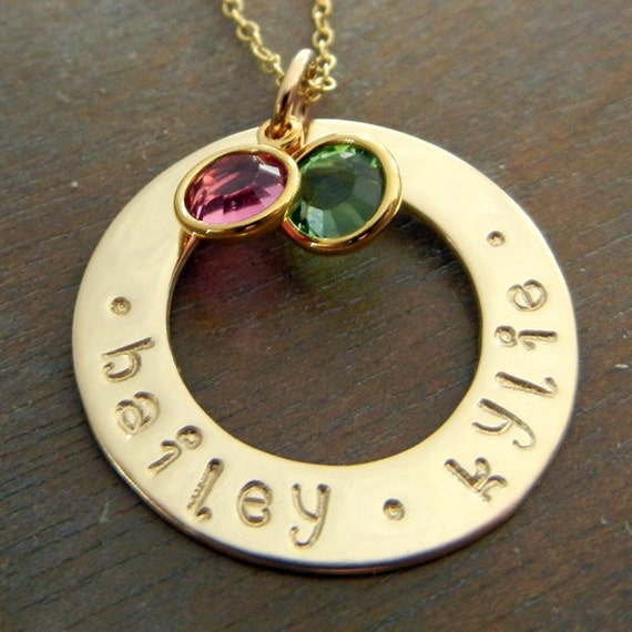 Gold Personalized Stamped Family Washer Necklace, Birthstone Necklace 14K Gold-Filled Custom Charm Jewelry, HAILEY by E. Ria Designs