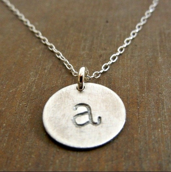 Silver Initial Necklace, Hand Stamped Sterling Charm Necklace, Lowercase Typewriter CHELSEA by E. Ria Designs