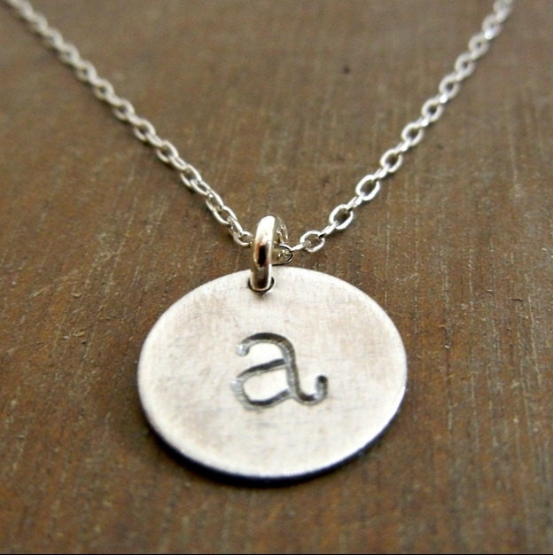 Silver initial necklace hand stamped sterling charm necklace for How do you make hand stamped jewelry