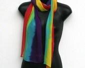 Rainbow Silk Chiffon Scarf