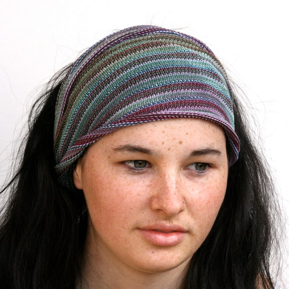 Dread Wrap / Headband in Muted Green, Blue and Violet