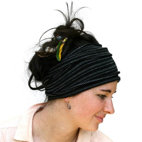Black and Slate Headband/ Dread Wrap