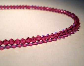 Pink Fuchsia Magenta Swarovski Crystal Anklet