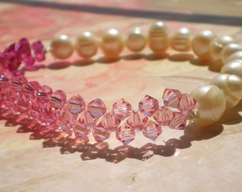 Pink Ombre Swarovski Woven Freshwater Pearl Bracelet