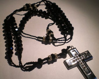 Black Rosary Silver Bling Cross Unisex