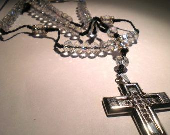 Crystal Clear Rosary Silver Bling Cross Unisex