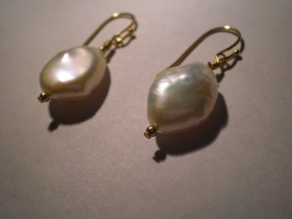 Large Freshwater Pearl White Earrings