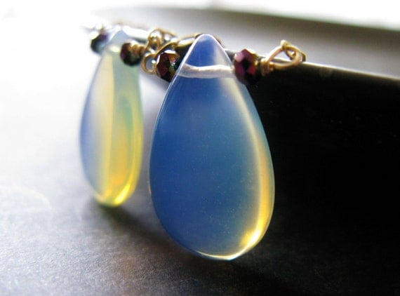 Opal earrings - Boho  opaline rainbow hued opalite wire wrapped briolettes on goldfill earrings swingy bohemian earrings