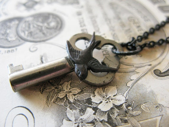 Vintage key steampunk key necklace Adorned with a swallow for men for women
