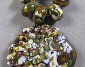 Handmade Lampwork Raku Pendant and Bead Set