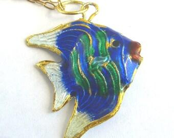 Cloisonne Angel Fish Necklace