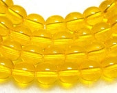 Yellow Beads 6mm Sunny Yellow  Czech Glass Rounds 16 inch Strand