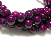 Purple Beads 6mm Violet Purple Fossil  Beads 16 inch strand