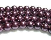 6mm purple pearls 70 Dark Purple Glass Pearls in 6mm.