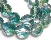 10mm Teal Green Beads 10 Gorgeous Faceted 10mm Glass Rounds in Teal Green