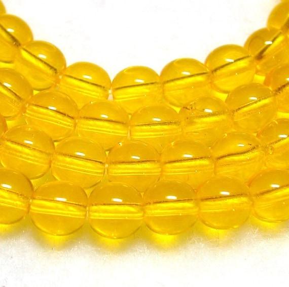 Yellow Beads 6mm Sunny Yellow  Czech Glass Rounds 25 Beads