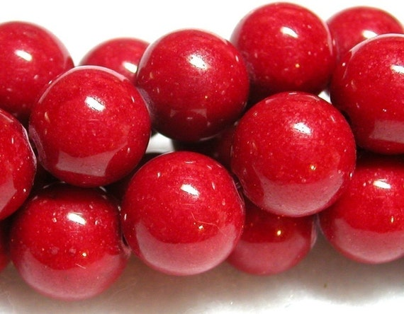 12mm Red Beads 12mm Red Mountain Jade Beads 15 Pieces