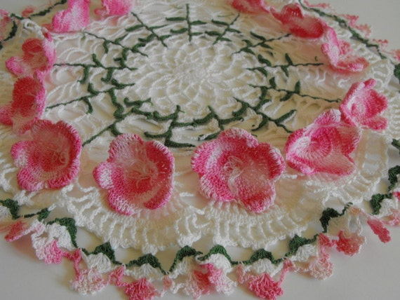 Vintage Crochet Flower Doily Shabby Pink Dimensional Flowers Wow Unique Unused