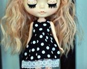Blythe Outfit Black Vs white dot Dress