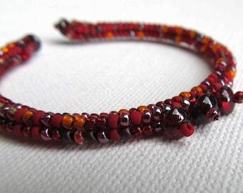 Garnet memory wire bracelet