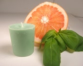 Citrus Basil Soy Votive, Scented Soy Wax Candle, Herbs, Citrus, green votive