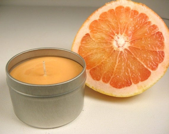 Grapefruit Soy Wax Candle, 4 oz travel tin, orange, citrus, scented candle