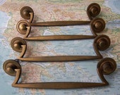 4 vintage mod goldtone metal pull handles with round end pieces includes hardware