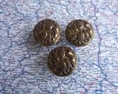 3 vintage round acorn motif brass metal knobs includes hardware