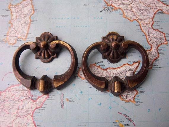 2 vintage ornate open metal handles includes hardware