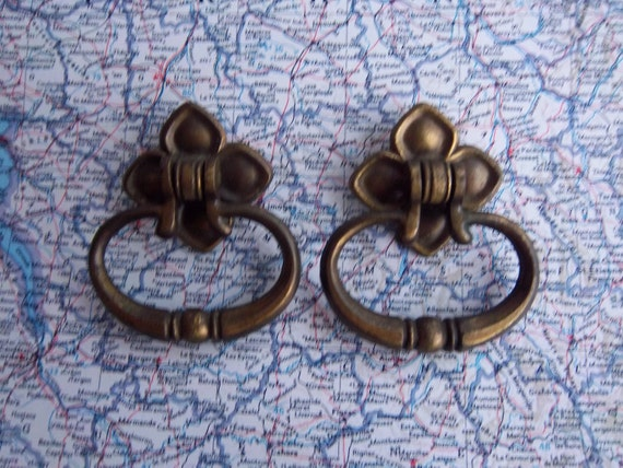2 vintage open metal handles with attached backplates includes hardware